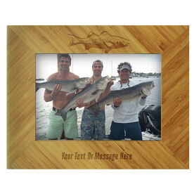 Fly Fishing Bamboo Engraved Picture Frame Striper