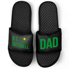 Softball Black Slide Sandals - #1 Softball Dad