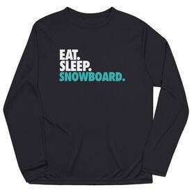 Skiing & Snowboarding Long Sleeve Performance Tee - Eat. Sleep. Snowboard.