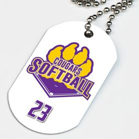 Softball Printed Dog Tag Necklace Custom Softball Logo with Team Number