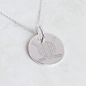Sterling Silver 20mm Circle Necklace Hockey Monogram
