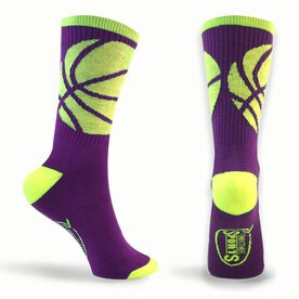 Basketball Woven Mid Calf Socks - Ball Wrap (Purple/Neon)