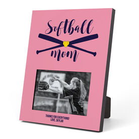 Softball Photo Frame - Softball Mom With Crossed Bats
