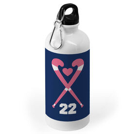 Field Hockey 20 oz. Stainless Steel Water Bottle - Crossed Sticks Heart with Number
