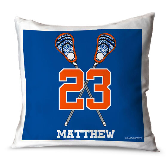 Guys Lacrosse Throw Pillow Personalized Crossed Sticks