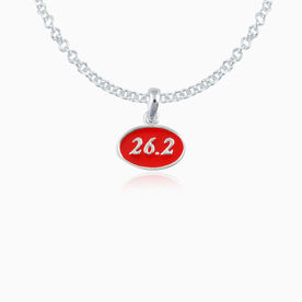 Sterling Silver and Red Enamel Mini 26.2 Marathon Pendant Necklace