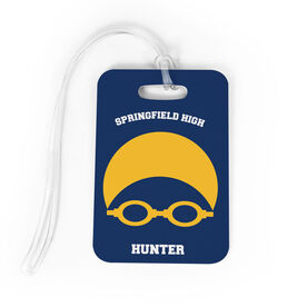 Swimming Bag/Luggage Tag - Personalized Swim Team Goggles and Cap