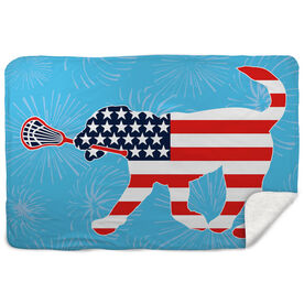 Guys Lacrosse Sherpa Fleece Blanket Patriotic Max the Lax Dog