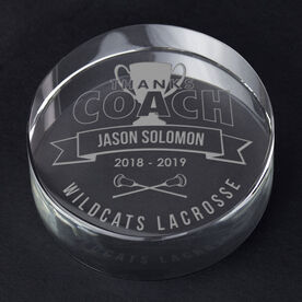 Guys Lacrosse Personalized Engraved Crystal Gift - Thanks Coach Banner
