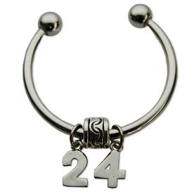 Silver Plated Jersey Number Horse Shoe Keychain