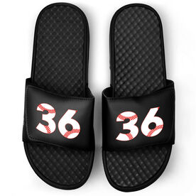 Baseball Black Slide Sandals - Baseball Number Stitches