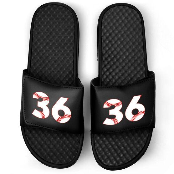 Baseball Black Slide Sandals - Baseball Number Stitches