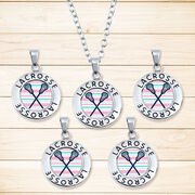 Girls Lacrosse Circle Necklace - Crossed Sticks