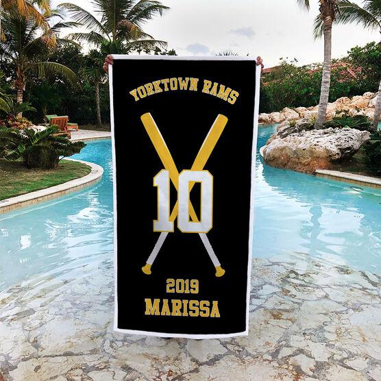 Softball Premium Beach Towel - Personalized Team with Crossed Bats