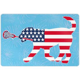 "Girls Lacrosse 18"" X 12"" Aluminum Room Sign Patriotic LuLa the Lax Dog"