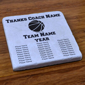 Basketball Stone Coaster Thanks Coach With Team Roster