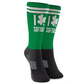 Softball Printed Mid-Calf Socks - I Shamrock Softball