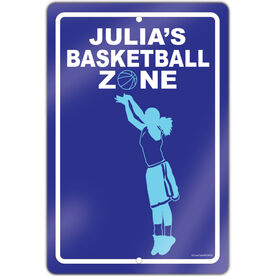 """Basketball Aluminum Room Sign Personalized Basketball Zone Girl (18"""" X 12"""")"""