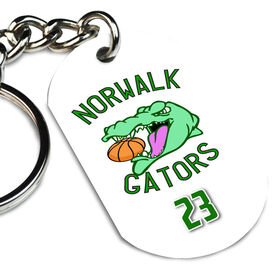Basketball Printed Dog Tag Keychain Custom Basketball Logo with Team Number