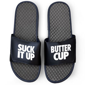 Running Navy Slide Sandals - Suck It Up Butter Cup