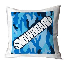 Snowboarding Throw Pillow - Top