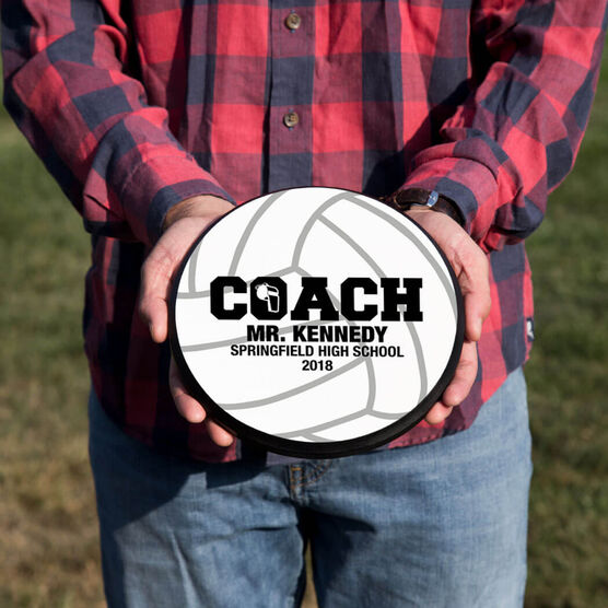 Volleyball Circle Plaque - Coach With 3 Lines