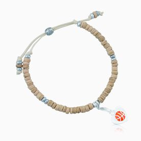 Natural SportBEAD Adjustable Bracelet - Heart Basketball Charm