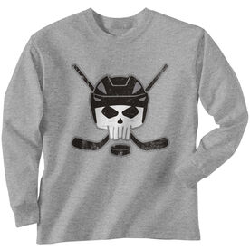 Hockey Long Sleeve Tee - Hockey Helmet Skull