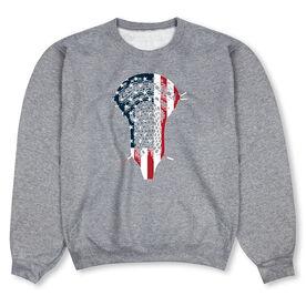 Guys Lacrosse Crew Neck Sweatshirt - Patriotic Stick