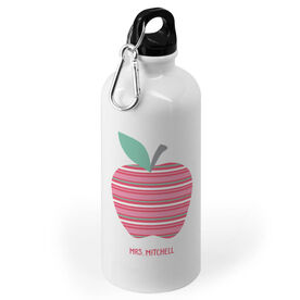Personalized 20 oz. Stainless Steel Water Bottle - Teacher Striped Apple