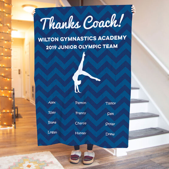 Gymnastics Premium Blanket - Personalized Thanks Coach Chevron