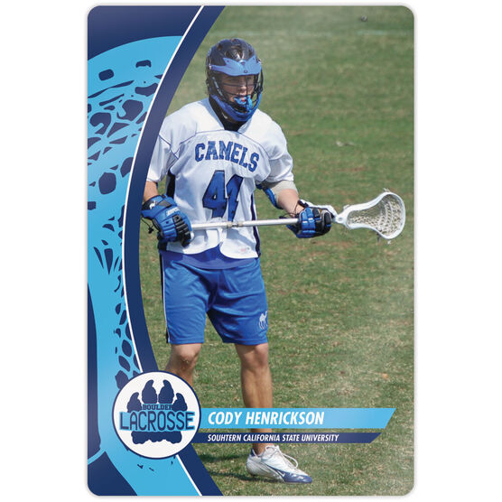 """Guys Lacrosse 18"""" X 12"""" Aluminum Room Sign - Player Photo With Logo"""