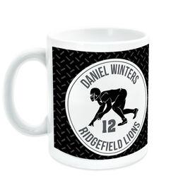 Football Coffee Mug Personalized Team with Linebacker Silhouette
