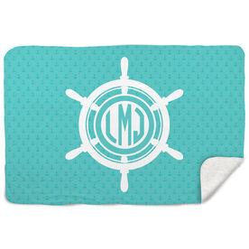 Sherpa Fleece Blanket - Monogram Ship Wheel