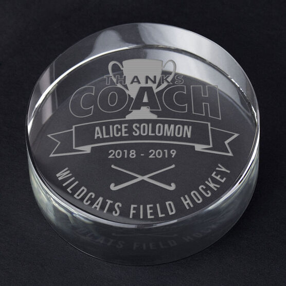 Field Hockey Personalized Engraved Crystal Gift - Thanks Coach Banner