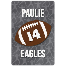 "Football Aluminum Room Sign (18""x12"") Personalized Football with Number and Silhouette Pattern"