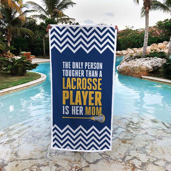 Girls Lacrosse Premium Beach Towel - Tougher Than A Lacrosse Player