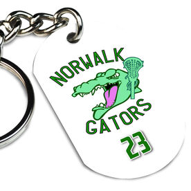 Girls Lacrosse Printed Dog Tag Keychain Custom Lacrosse Logo with Personalized Number