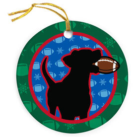 Football Porcelain Ornament Christmas Football Dog