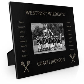Guys Lacrosse Engraved Picture Frame - Team Name With Roster (Coach)