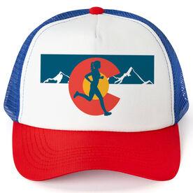 Running Trucker Hat - Colorado Flag Female Runner