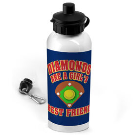 Softball 20 oz. Stainless Steel Water Bottle Diamonds Are A Girl's Best Friend