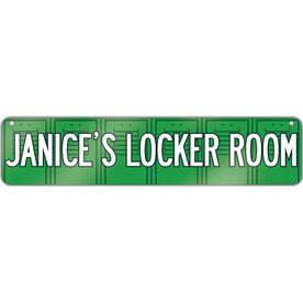 "Aluminum Room Sign Personalized Locker Room (4""x18"")"