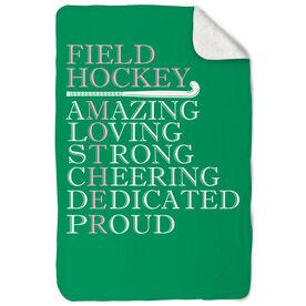 Field Hockey Sherpa Fleece Blanket - Mother Words