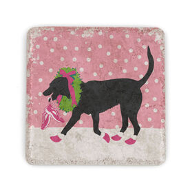 Running Stone Coaster Rex The Running Dog With Christmas Wreath