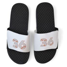 Baseball White Slide Sandals - Baseball Number Stitches