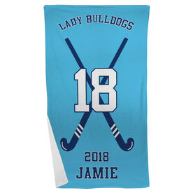 Field Hockey Beach Towel Personalized Team with Crossed Sticks
