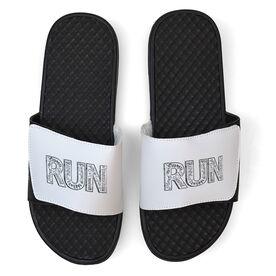 Running White Slide Sandals - RUN Inspiration Chalkboard