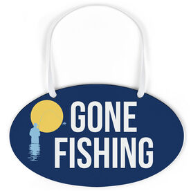 Fly Fishing Oval Sign - Gone Fishing Silhouette