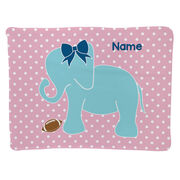 Football Baby Blanket - Football Elephant with Bow